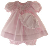 Petit Ami Infant Girls Smocked Pink Gingham Dress & Bonnet