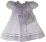 Petit Ami Infant Baby Girls Lavender Smocked Bishop Dress & Bonnet