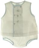 Petit Ami Newborn Boys White Sleeveless Embroidered Diaper Set