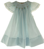 Rosalina Girls Blue Smocked Angel Bishop Dress with Lace Trim