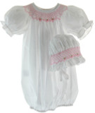 Newborn Girls White Smocked Supot & Bonnet-Rosalina