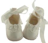 Sarah Louise Girls White Ballet Christening Shoes Booties