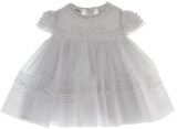 Infant Girls White Smocked Heirloom Christening Dress