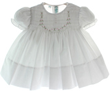 Newborn Girls White Dress with Smocking Feltman Brothers
