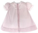 Newborn Girls Pink Day Dress Lace Trim