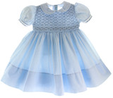 Girls Blue Smocked Portrait Dress with Collar Feltman Brothers