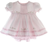 Baby Girls Pink Dress & Bloomer Set - Friedknit Creations by Feltman