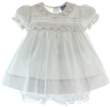 Baby Girls White & Pink Dress Lace Trim Collar Friedknit by Feltman