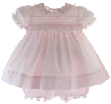 Baby Girls Pink Dress with Collar & Bloomers Friedknit by Feltman