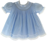 Baby Girls Blue Slip Dress Lace Trim Friedknit by Feltman