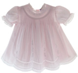 Infant Girls Pink Slip Dress Lace Trim Friedknit by Feltman