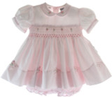 Infant Girls Pink Smocked Portrait Dress Round Collar Friedknit by Feltman