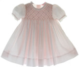 Infant Girls Pink Smocked Bodice Dress Lace Trim