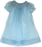 Baby Girls Blue Smocked Daygown White Smocking Rosalina