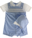 Infant Boys Blue Gingham Romper