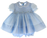 Baby Girls Blue Smocked Portrait Dress with Collar