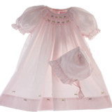 Girls Pink Smocked Take Home Daygown & Bonnet