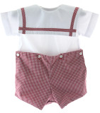 Boys Red & White Gingham Bobbie Suit