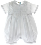 Boys Solid White Smocked Baptism Romper Feltman Brothers
