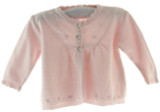 Infant Girls Pink Cardigan Sweater with Pearls
