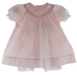 Girls Pink Portrait Dress & Bloomer Set