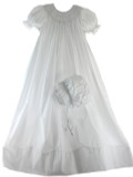 Girls White Smocked Christening Gown with Bonnet Set