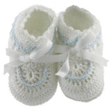 Boys White Baby Booties with Blue Trim