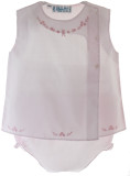 Girls Pink Sleeveless Diaper Set Embroidered Flowers