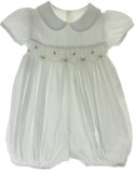 Girls White Smocked Bubble Pink Flowers