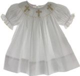 Girls White Smocked Dress with Cross SMocking