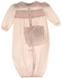 Newborn Baby Girls Pink Smocked Gown & Bonnet Petit Ami