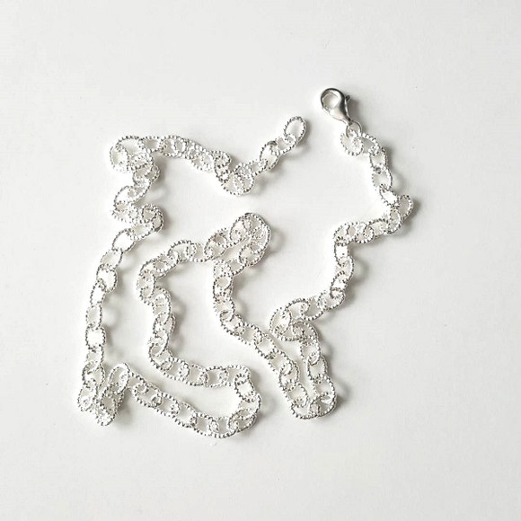 Milgrain Rolo Chain Necklace Sterling Silver from kellinsilver.com