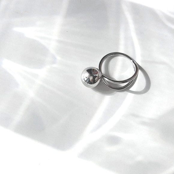 Unbalance Ball Ring Sterling Silver from kellinsilver.com