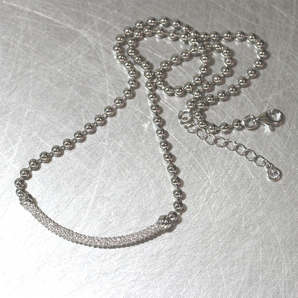 Curved Pave Bar Ball Necklace Sterling Silver from kellinsilver.com