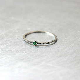 Emerald Oxidized Milgrain Thin Ring from kellinsilver.com