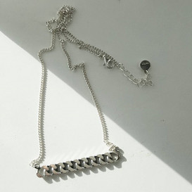 Oxidized Chain Bar Necklace Sterling Silver from kellinsilver.com