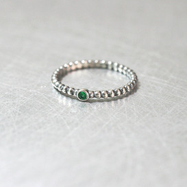 Emerald Dot Band Ring Oxidized Sterling Silver from kellinsilver.com