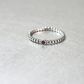 Ruby Dot Band Ring Oxidized Sterling Silver from kellinsilver.com