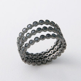 Sterling Silver Black Spinel Full Eternity Ring Set of 3
