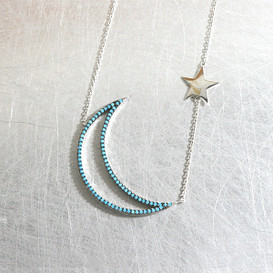 Turquoise Moon and Star Necklace Sterling Silver from kellinsilver.com