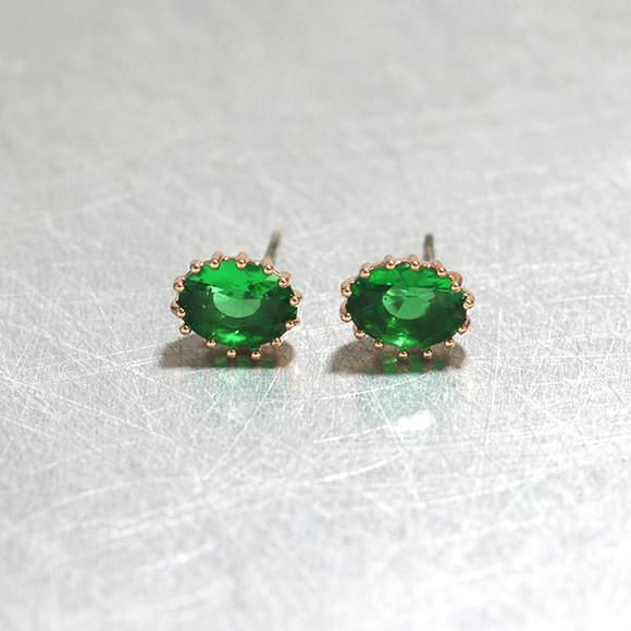 Swarovski Emerald Oval Stud Earrings Rose Gold from kellinsilver.com