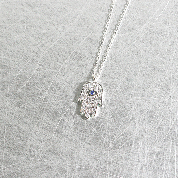 White Gold Sapphire Swarovski Hamsa Evil Eye Necklace Sterling Silver from kellinsilver.com