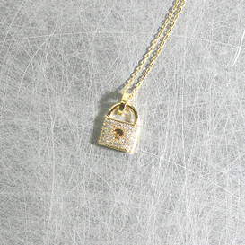 CZ Gold Lock Charm Necklace Sterling Silver from kellinsilver.com