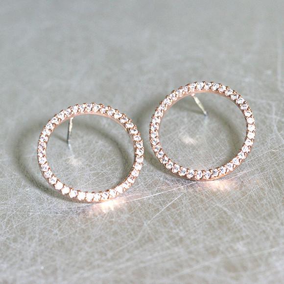 Rose GOld Swarovski Outline Circle Earrings Stud from kellinsilver.com