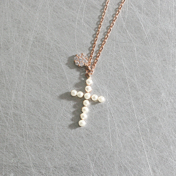 Rose Gold Pearl Cross Charm Necklace Sterling Silver from kellinsilver.com