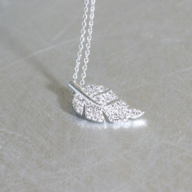 CZ White Gold Olive Leaf Charm Necklace Sterling Silver from kellinsilver.com