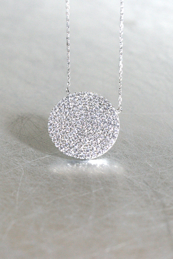 Swarovski White Gold Pave Disc Necklace Sterling Silver
