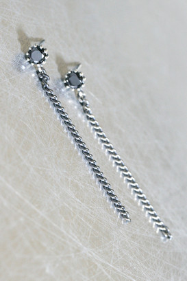 Black CZ Oxidized Sterling Silver Chain Drop Earrings from kellinsilver.com