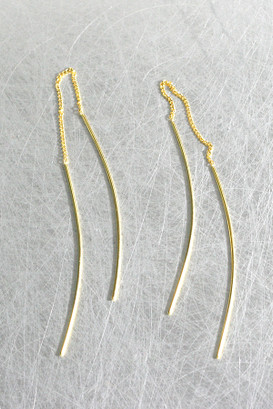 Gold Curved Thread Dangle Earrings Sterling Silver from kellinsilver.com