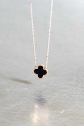 Black Four Leaf Clover Rose Gold Necklace Sterling Silver from kellinsilver.com